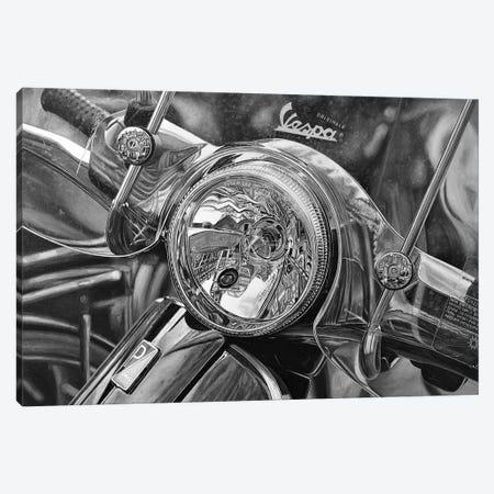 Vespa Black And White Canvas Print #BLO81} by J.Bello Studio Canvas Wall Art