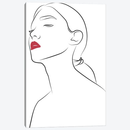 Lady with Red Lips Canvas Print #BLP176} by Blek Prints Canvas Art Print