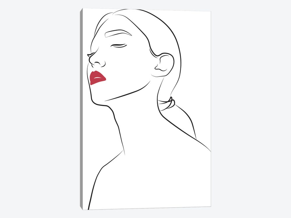 Lady with Red Lips by Blek Prints 1-piece Canvas Print
