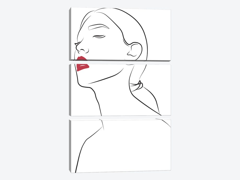 Lady with Red Lips by Blek Prints 3-piece Art Print