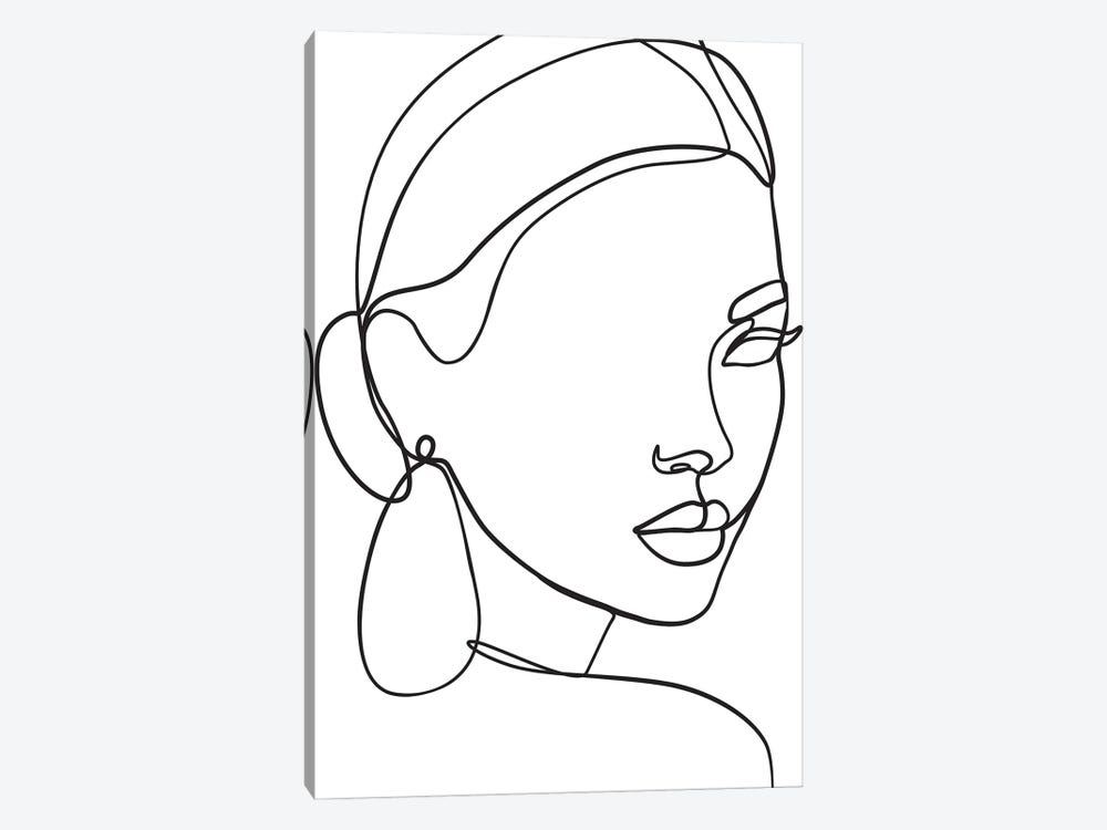 Lady with Earring by Blek Prints 1-piece Canvas Artwork