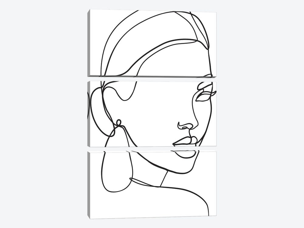 Lady with Earring by Blek Prints 3-piece Canvas Art
