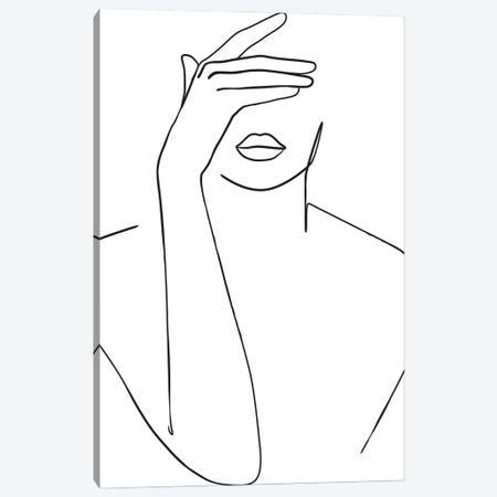 Lady Hiding Face Canvas Print #BLP182} by Blek Prints Art Print