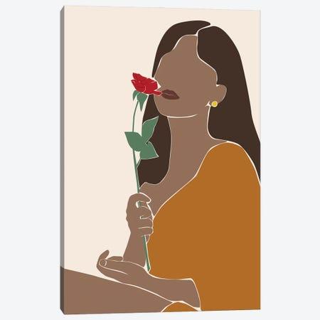 Lady with Rose Canvas Print #BLP185} by Blek Prints Canvas Artwork