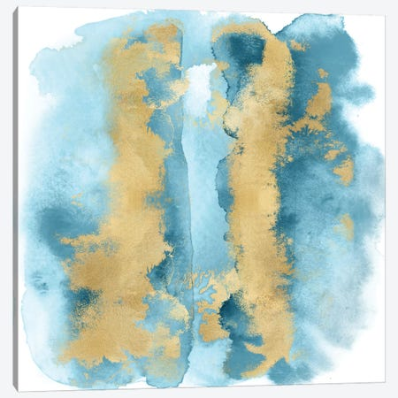 Aqua Mist with Gold I Canvas Print #BLR1} by Bella Riley Art Print