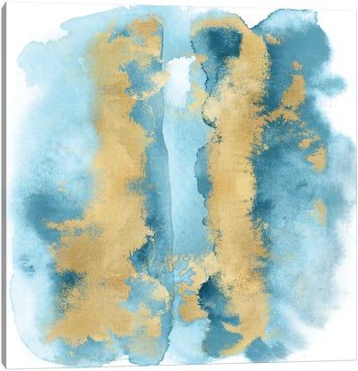 Aqua Mist with Gold I Canvas Art Print
