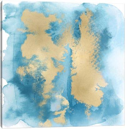 Aqua Mist with Gold II Canvas Art Print