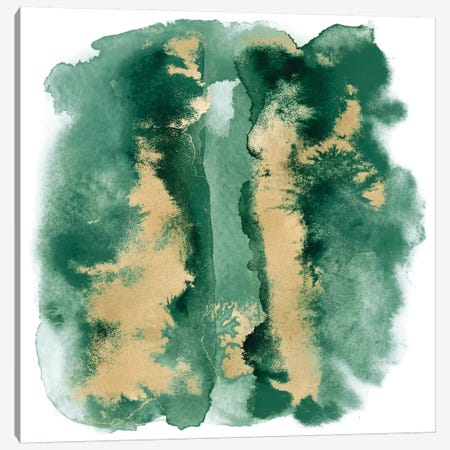 Emerald Mist with Gold I Canvas Print #BLR3} by Bella Riley Canvas Art Print