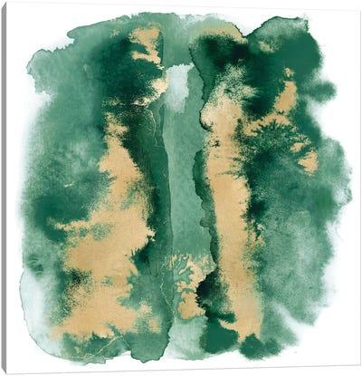 Emerald Mist with Gold I Canvas Art Print