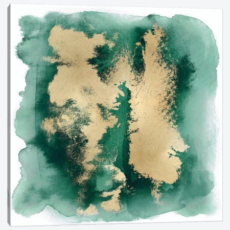 Emerald Mist with Gold II Canvas Print #BLR4} by Bella Riley Canvas Wall Art