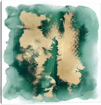 Emerald Mist with Gold II Canvas Art Print