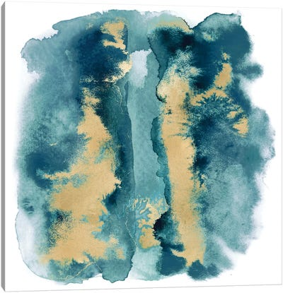 Teal Mist with Gold I Canvas Art Print