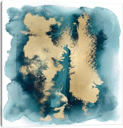 Teal Mist with Gold II Canvas Art Print