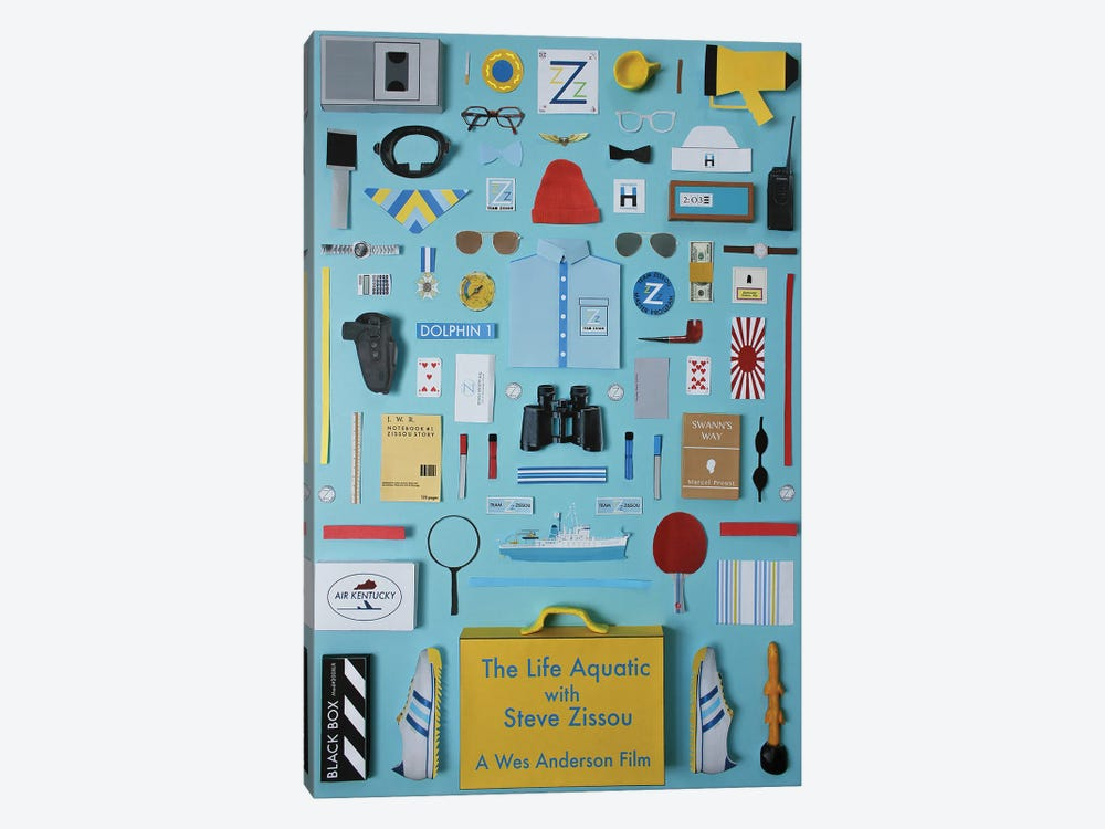 The Life Aquatic With Steve Zissou Objects by Jordan Bolton 1-piece Canvas Print