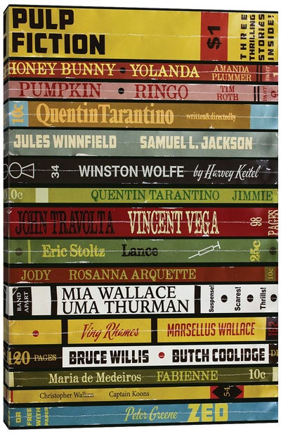 Pulp Fiction As Books Canvas Art Print
