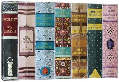 Wes Anderson Films As Books Canvas Art Print