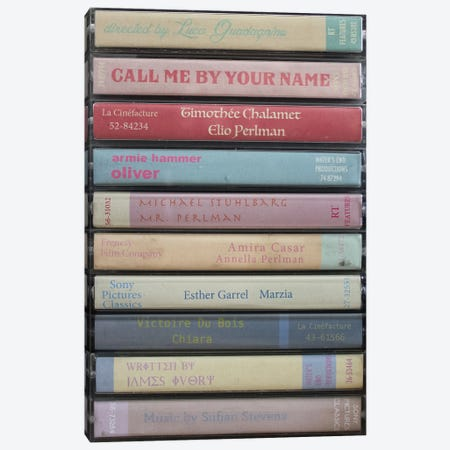 Call Me By Your Name As Cassettes Canvas Print #BLT43} by Jordan Bolton Canvas Print