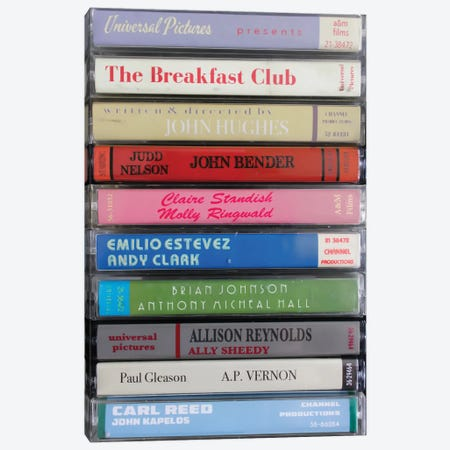 The Breakfast Club As Cassettes Canvas Print #BLT47} by Jordan Bolton Canvas Artwork