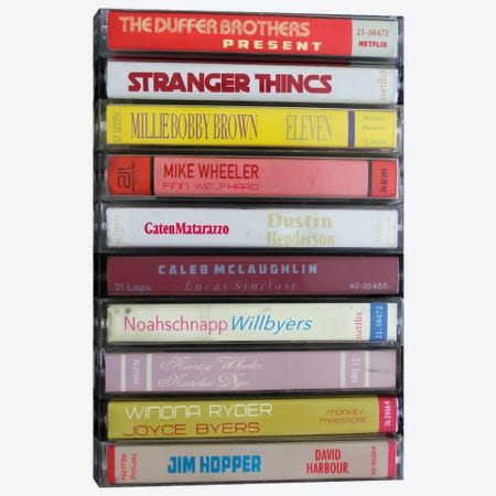 Stranger Things As Cassettes Canvas Print #BLT52} by Jordan Bolton Canvas Wall Art