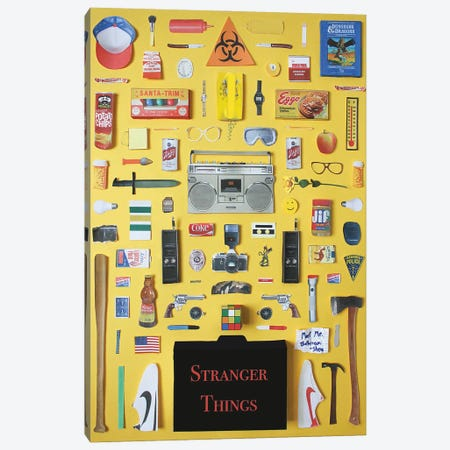 Stranger Things Objects Canvas Print #BLT53} by Jordan Bolton Canvas Art