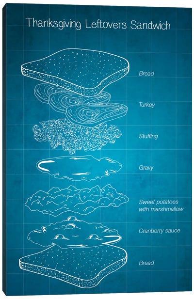 Thanksgiving Leftovers Sandwich Blueprint Canvas Art Print