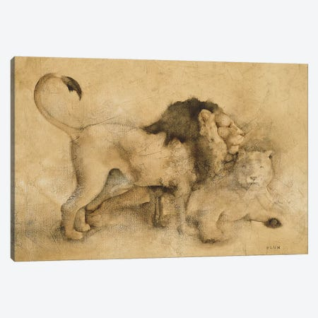Global Lions Light Canvas Print #BLU3} by Cheri Blum Canvas Artwork