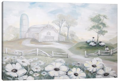 White Barn Canvas Art Print