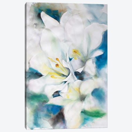 White Lillies Canvas Print #BMD55} by Betsy McDaniel Canvas Artwork