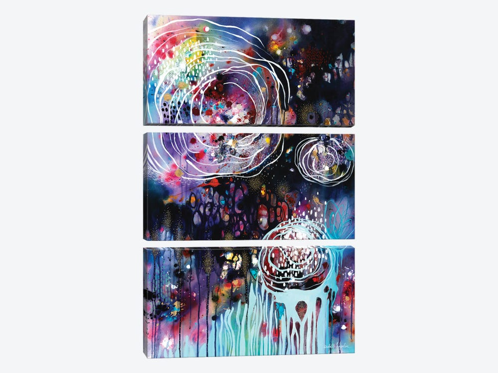 Raindrops & Resonance by Brenda Mangalore 3-piece Canvas Print