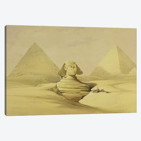 "The Great Sphinx and the Pyramids of Giza, from ""Egypt and Nubia"", Vol.1  Canvas Print #BMN10000} by David Roberts Art Print"