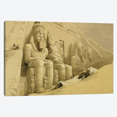 "The Great Temple of Abu Simbel, Nubia, from ""Egypt and Nubia"", Vol.1  3-Piece Canvas #BMN10001} by David Roberts Canvas Print"