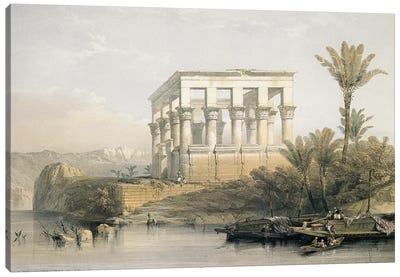 The Hypaethral Temple at Philae, called the Bed of Pharaoh, engraved by Louis Haghe, pub. in 1843  Canvas Art Print