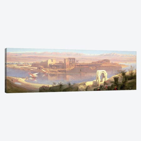 The Island of Philae, Nubia 3-Piece Canvas #BMN10003} by David Roberts Art Print