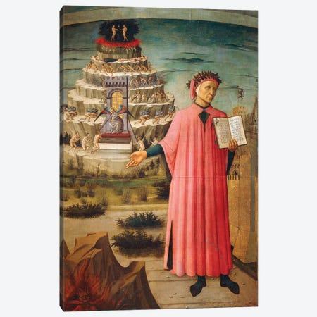 Dante Alighieri with Divine Comedy in his hand and mountains of purgatory in background,1465 Canvas Print #BMN10011} by Domenico di Michelino Canvas Wall Art