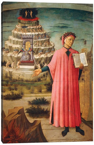 Dante Alighieri with Divine Comedy in his hand and mountains of purgatory in background,1465 Canvas Art Print