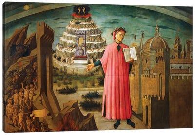 Divine Comedy, by Dante Alighieri , by Domenico di Michelino, 1465 Canvas Art Print