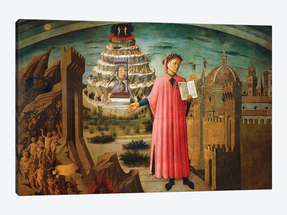 Divine Comedy, by Dante Alighieri , by Domenico di Michelino, 1465 by Domenico di Michelino 1-piece Canvas Art Print