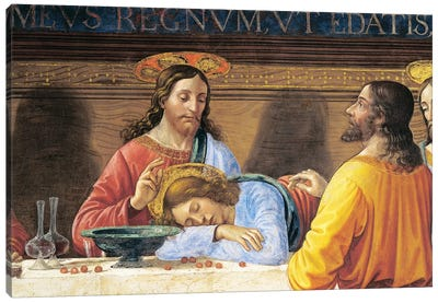 Italy, Florence, Refectory of Convent of San Marco, Jesus and St John, detail from Last Supper, 1485 Canvas Art Print