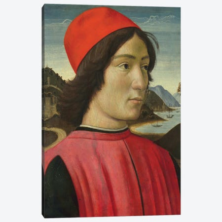 Portrait of a man, c.1490  Canvas Print #BMN10015} by Domenico Ghirlandaio Canvas Print