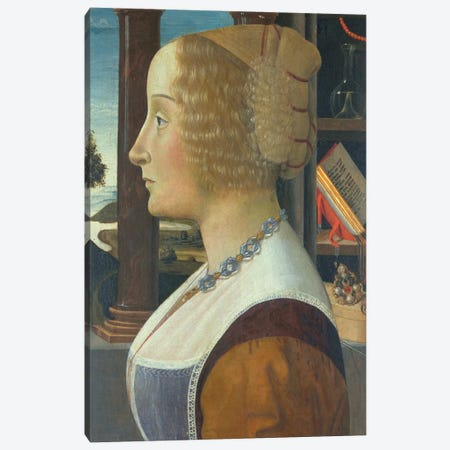 Portrait of a woman, c.1490  Canvas Print #BMN10016} by Domenico Ghirlandaio Canvas Art Print