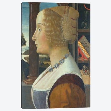 Portrait of a woman, c.1490  Canvas Print #BMN10016} by Domenico Ghirlandaio Canvas Art Print