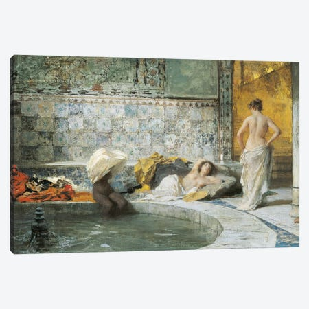 Turkish Bath, by Domenico Morelli, oil on canvas Canvas Print #BMN10017} by Domenico Morelli Canvas Art Print