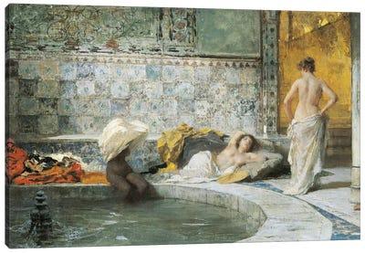 Turkish Bath, by Domenico Morelli, oil on canvas Canvas Art Print