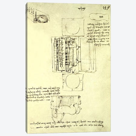 Sketch of the Casting Pit for the Sforza Horse seen from above and the side, fol. 149r from the Codex Madrid I, c.1493  Canvas Print #BMN1001} by Leonardo da Vinci Canvas Wall Art
