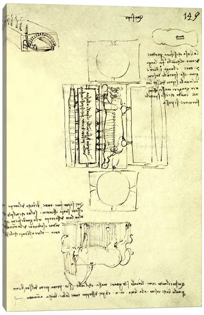 Sketch of the Casting Pit for the Sforza Horse seen from above and the side, fol. 149r from the Codex Madrid I, c.1493 Canvas Art Print
