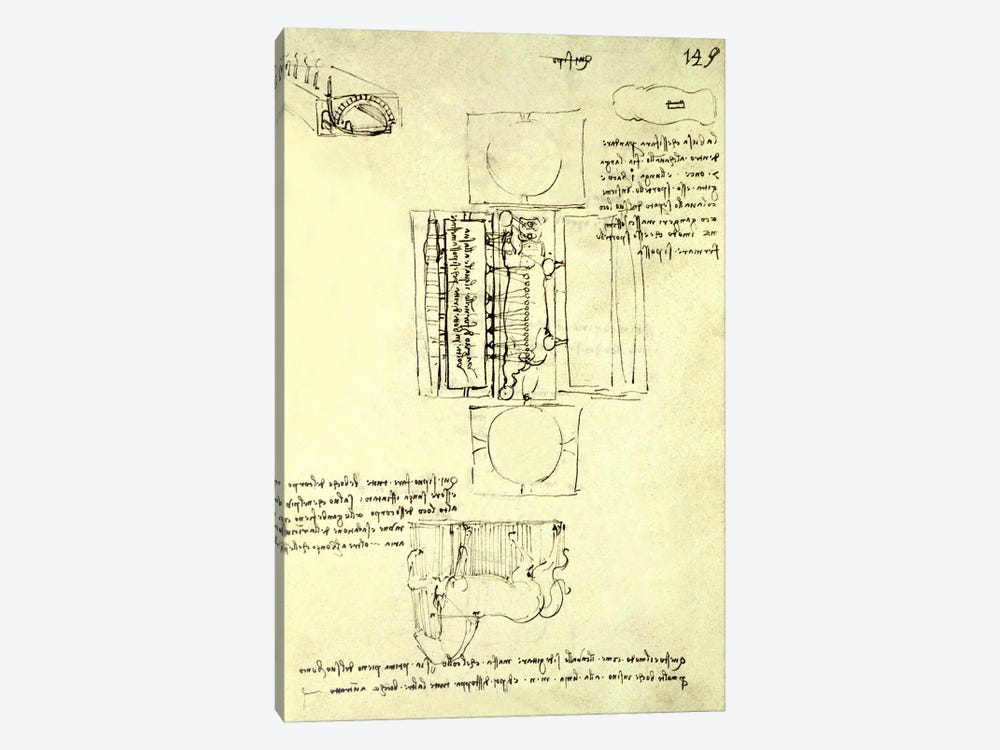 Sketch of the Casting Pit for the Sforza Horse seen from above and the side, fol. 149r from the Codex Madrid I, c.1493 by Leonardo da Vinci 1-piece Canvas Wall Art