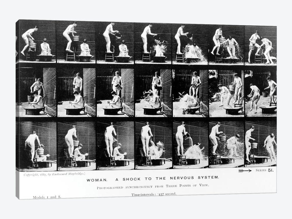 Woman. A Shock to the Nervous System, 1887 by Eadweard Muybridge 1-piece Canvas Wall Art