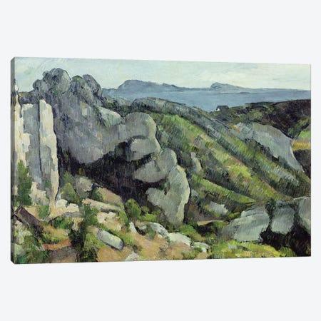 Rocks at L'Estaque, 1879-82  3-Piece Canvas #BMN1004} by Paul Cezanne Canvas Art Print