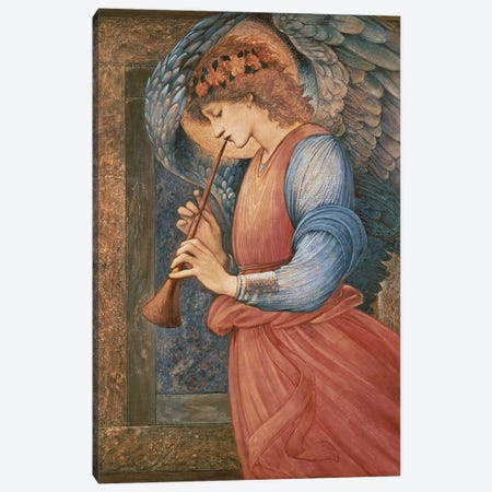 An Angel Playing a Flageolet, 1878  Canvas Print #BMN10056} by Edward Coley Burne-Jones Art Print