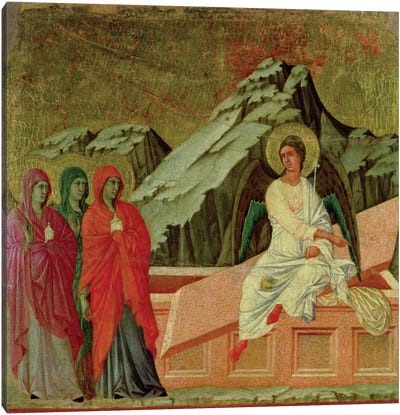 Maesta: The Three Maries at Christ's Tomb, 1308-11 Canvas Art Print